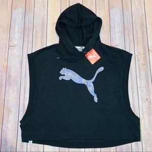Puma womens black sleeveless cropped hoodie Sz L